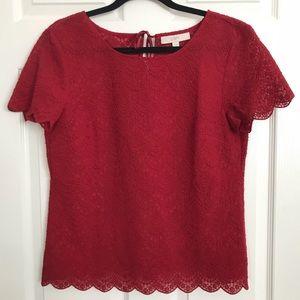 LOFT red lace blouse